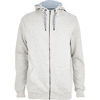 Grey marl high neck zip through hoodie
