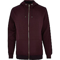 Dark red high neck zip through hoodie