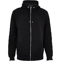 Black high neck zip through hoodie