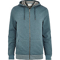 Blue high neck zip through hoodie
