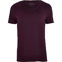 Dark purple low scoop t-shirt