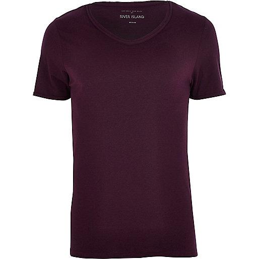 Dark purple low scoop t-shirt