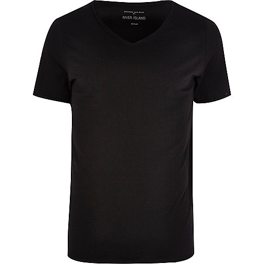 Black low scoop neck t-shirt