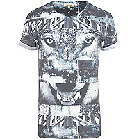 Black wolf print spliced t-shirt