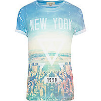 Blue New York triangle print t-shirt