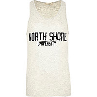 Ecru marl North Shore University print vest