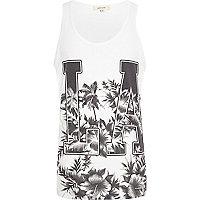 White LA floral print vest