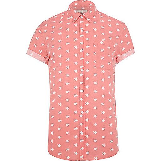 Coral star print shirt