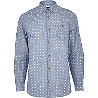 Blue chambray polka dot shirt