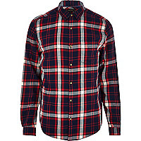 Navy check long sleeve shirt
