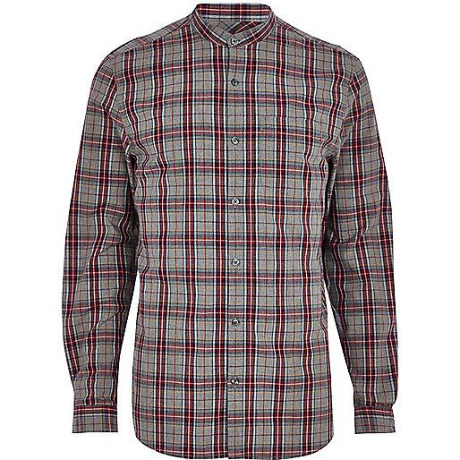 Grey tartan grandad shirt