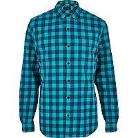 Turquoise check long sleeve shirt