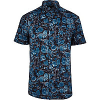 Teal oil print short sleeve shirt