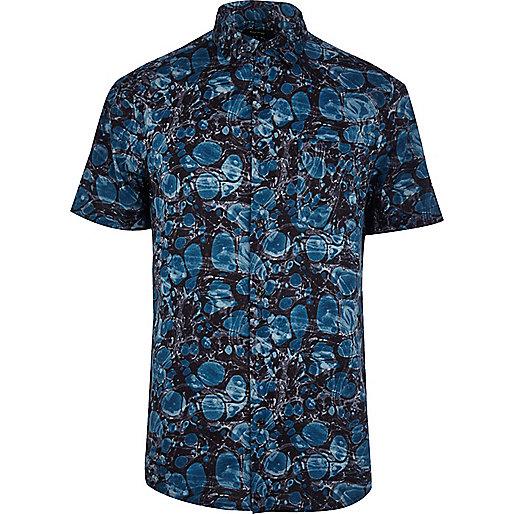 Teal oil print short sleeve shirt