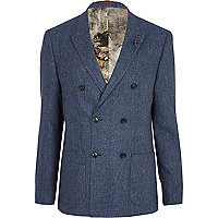Blue tweed double breasted blazer