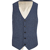 Blue floral back single breasted waistcoat