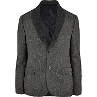 Charcoal detachable shawl collar tweed blazer