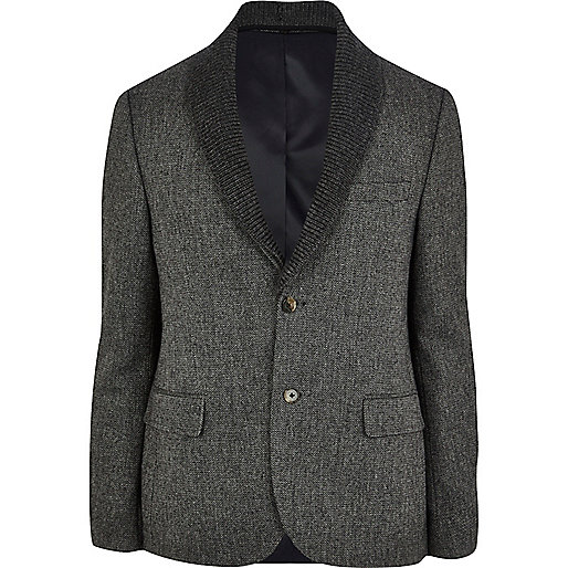 Charcoal detachable shawl collar blazer