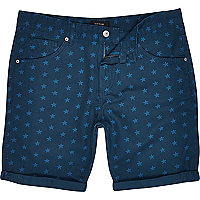 Teal star print shorts