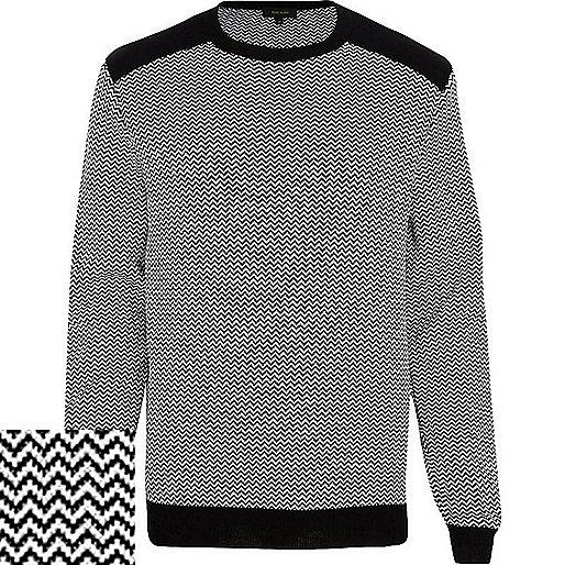 Black and white zig zag jumper