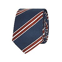 Navy diagonal stripe tie