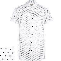 White star print short sleeve shirt