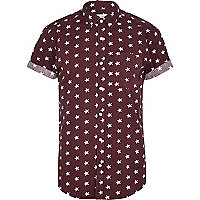 Dark red star print short sleeve shirt