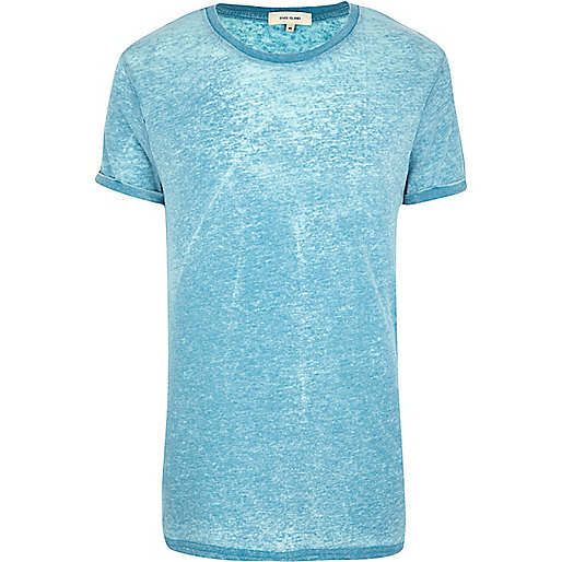 Turquoise burnout crew neck t-shirt