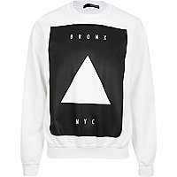White Bronx NYC triangle print sweatshirt