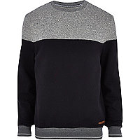 Navy blue colour block sweatshirt