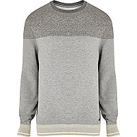 Grey colour block sweatshirt