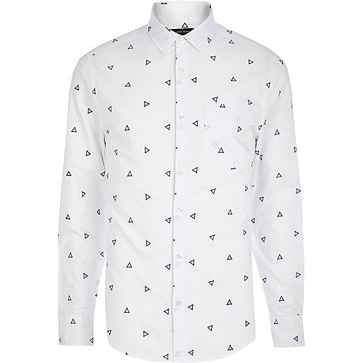 White triangle embroidered shirt