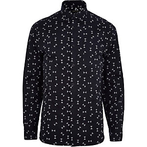 Black spindle print long sleeve shirt