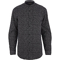 Grey geometric print grandad shirt
