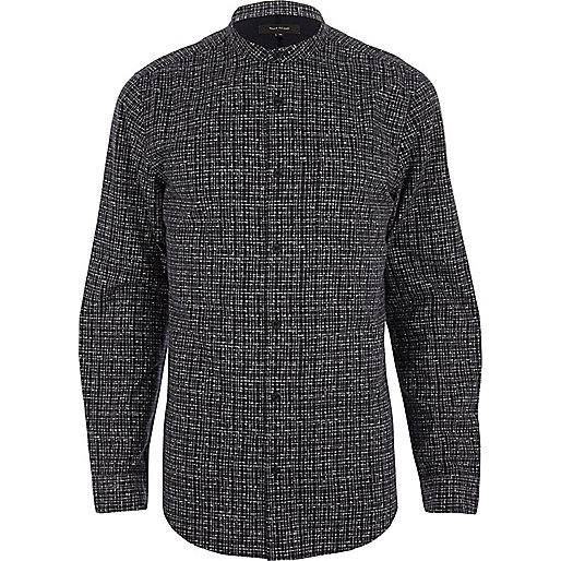 Grey geometric print grandad shirt