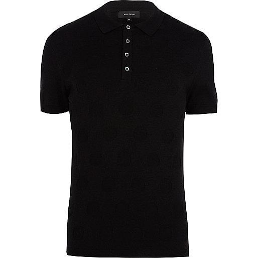 Black polka dot knitted polo shirt