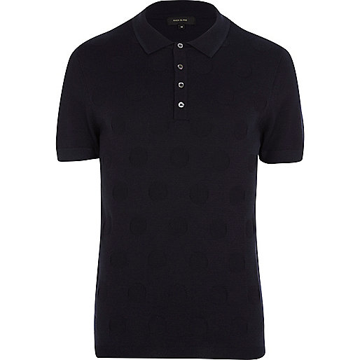 Navy polka dot knitted polo shirt