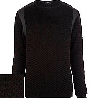Black textured leather-look panel jumper