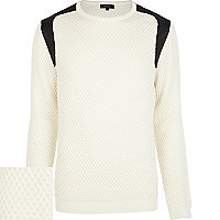 Cream textured leather-look panel jumper