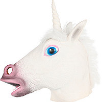 White unicorn head mask