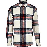 Cream check long sleeve shirt
