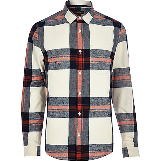 Cream check long sleeve shirt