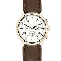 Dark brown classic white face watch