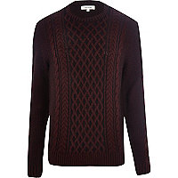 Dark red plaited cable knit jumper