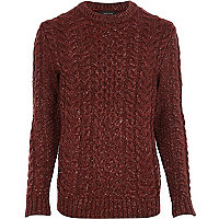 Rust cable knit crew jumper