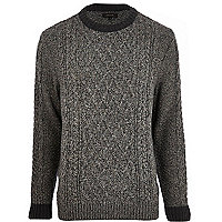 Dark grey cable knit jumper