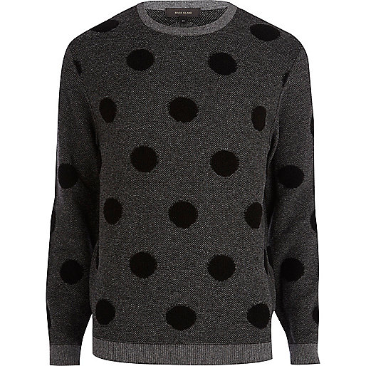 Dark grey polka dot jumper