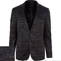 Navy VITO knitted stripe blazer
