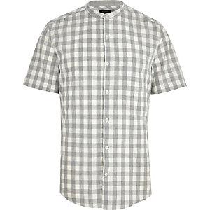 Light grey gingham check short sleeve shirt