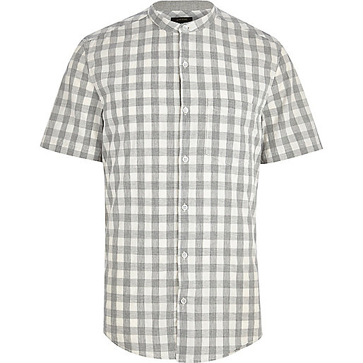 Light grey gingham check short sleeve shirt